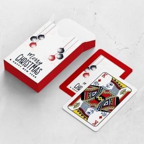 gepersonaliseerde speelkaarten zakelijk kerstballen kaarten en doosje