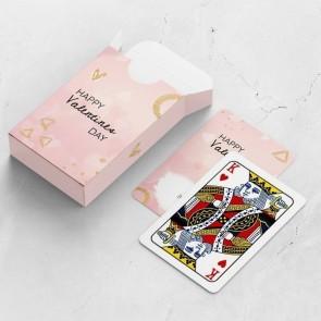 gepersonaliseerde speelkaarten zakelijk pink valentine kaarten en doosje